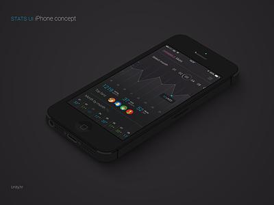 Stats iPhone UI info stats statistics iphone ui flat concept dark ios7 profile graph
