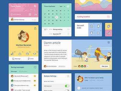 UI Kit (PSD included) mobile ui kit psd download freebie free template web flat calendar profile