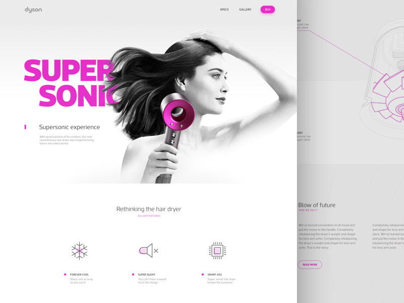 Supersonic ux ui responsive fashion product website landing page sport dyson dashboard app web