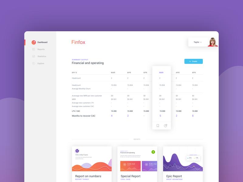 Startup Financial Models layout card ux ui responsive chart management clean dashboard app dash