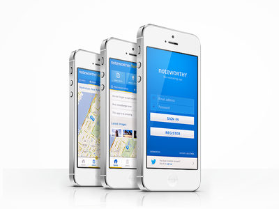 Noteworthy app concept app note iphone unity noteworthy concept ios login home map photos audio blue simple options perspective promo register twitter sign in ui interface menu sign up intro ux flat
