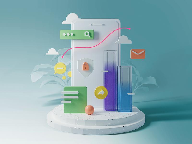 Dashboard app illustration dashboard app lowpoly blender illustration 3d