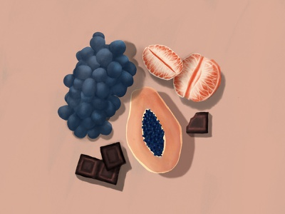 Fruit & Chocolate fruit flatlay shadows oil neutrals grapes chocolate orange tangerine clementine papaya sunset grape procreate painting illustration