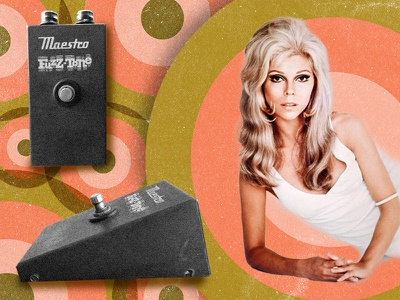 Is Nancy Sinatra the Mother of the Fuzz Pedal? pattern electric guitar fuzz grain music 1960s 1960 vintage editorial 60s retro sinatra nancy