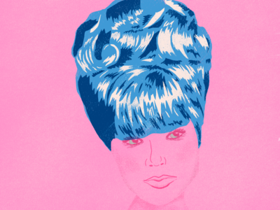big hair don't care mid century illustration bouffant hairdo vintage hair big gouache