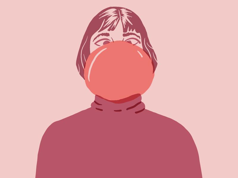 Bubble gum illustration monochrome blow gum bubble