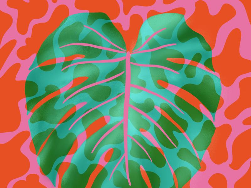 Lava lamp monstera pattern retro plants procreate leaf monstera plant lamp lava funky illustration