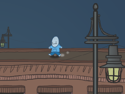 Boy On The Roof boy blue roof after effects running flash cartoon animation light city brown night building