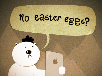 No Easter Eggs? ipad brown yellow bear rebound caption contest apple easter egg