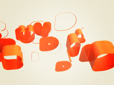 Build orange text 3d c4d cinema4d type build deformed pieces fun scattered