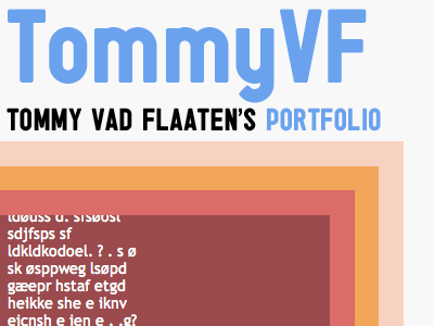TommyVF website tommyvf portfolio text dreamweaver photoshop colors red blue orange tommy vad flaaten