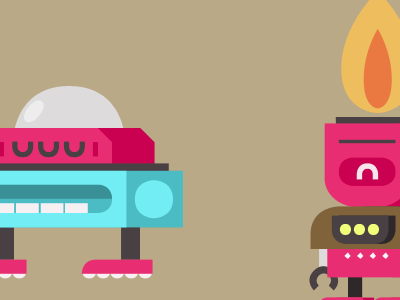 Robots robots bots bot robot brown fire flame gas mouth eyes glass colors pen tool ps photoshop pink blue