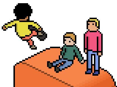 Pixel Skating pixel skating skateboard ramp park orange yellow pink green photoshop pixelart ps isometric people