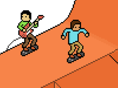 Skaters Gonna Play Guitar ramp skater pixel skating guitar playing ps skateboard orange blue