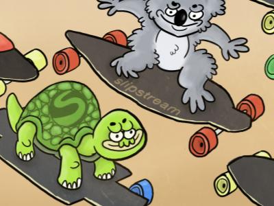 Slipstream design animals longboard slipstream longboarding scandinavian koala bear turtle grey green orange brown wheels illustration photoshop fun