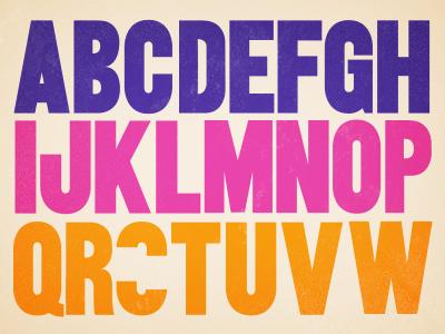 I'm making a font font jazz bold type pink blue orange alphabet
