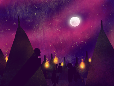 Brave New World - Savage Reservation scifi illustration textures photoshop pink fire night savage reservation tribe moon tents stars sky brave new world