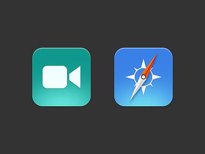 iOS 7 FaceTime and Safari Icons ios ios7 ios 7 icons apple flat safari facetime camera compass blue green simple modern