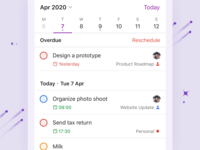 Todoist Upcoming View - iOS schedule calendar planning ui todoist todo task manager task project real live feature app