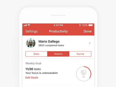 Todoist Productivity - iOS ios todo streaks goal productivity todoist