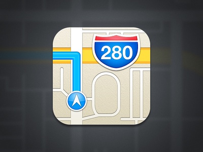 iOS 6 Maps Icon Recreation ios ios6 maps icon apple navigation road car shield iphone interstate transport ipad yellow highway ipad mini red blue arrow
