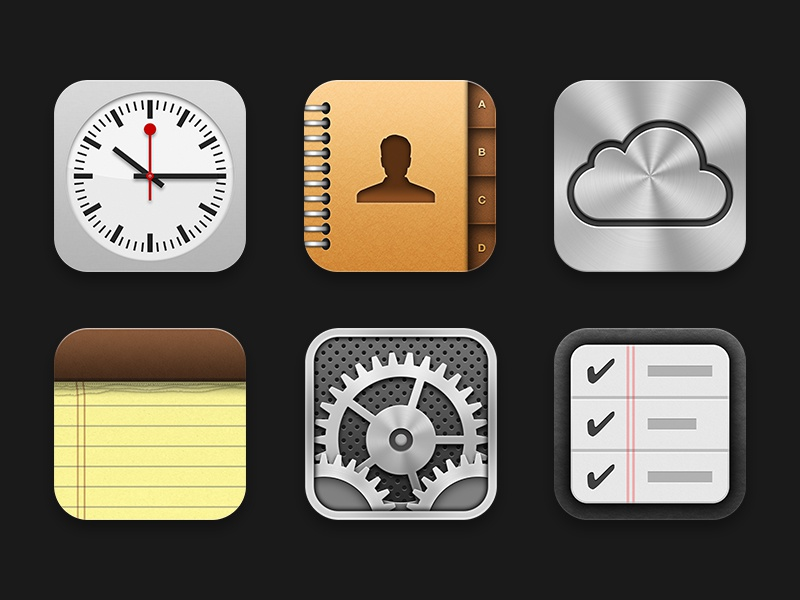 iOS Icons 1 gear iphone ipad mini time black silver tick contact leather reminders cloud red clock ipad paper contacts settings notes icloud ios ios6 apple icons