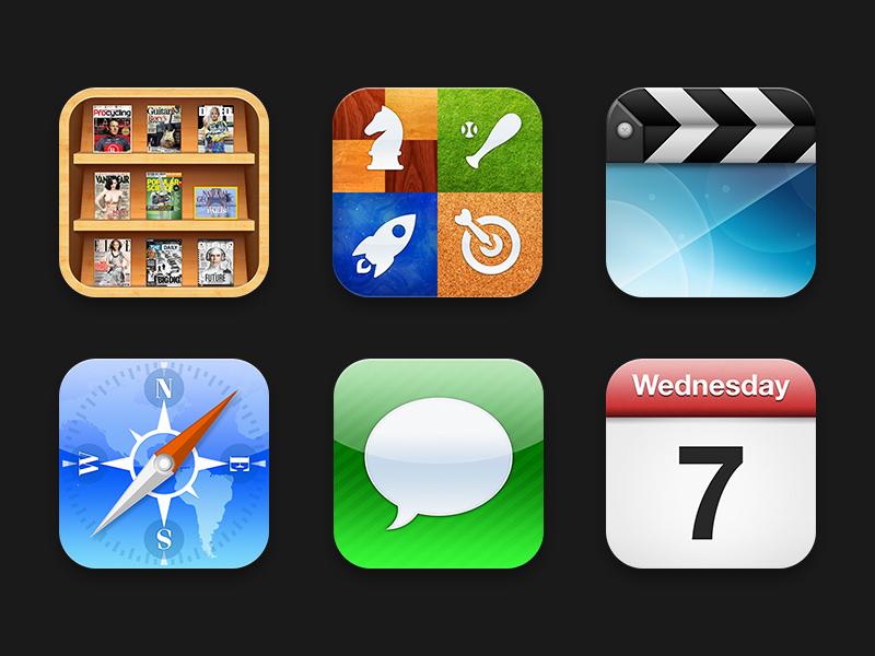 iOS Icons 2 baseball game shelf imessage safari magazine newspaper stars ball rocket game center games space messages darts world newsstand compass map green chess grass video wood news paper ios ios6 apple icons