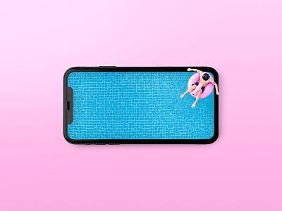 Swimming pool break! 🏊♂️ man iphone smartphone phone hot summer blue pink pool swim playground instagram aftereffect photoshop postproduction illustration digital creativity artist art