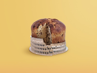 A colossal craving! 🍩 brown yellow milan panettone cake sweetness colosseum history italy rome playground instagram aftereffect photoshop postproduction illustration digital creativity artist art
