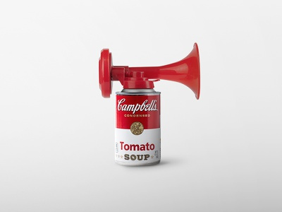 Andy Warhol, Campbell! 🥫 pop cans white red sound trumpet stadium soup tomato campbell playground instagram aftereffect photoshop postproduction illustration digital creativity artist art