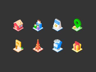 Isometric Icon app ui illustration gift plane tower eiffel coordinate calendar house isometric icon