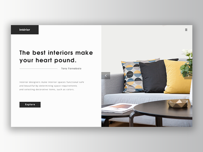 Interior Design Header UI Exploration. interaction web design web ui landing page simple photoshop blog interior design flat minimal ux ui