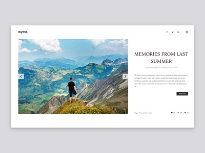 Simple Travel Blog Header Exploration landing page simple website clean web ui header travel blog minimal ux ui