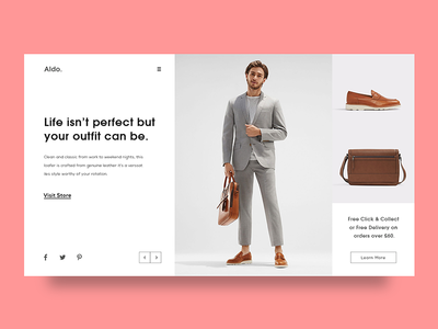Experimental Fashion Webpage UI Layout simple clean fashion product white user interface web ui landing page minimal header exploration ux ui