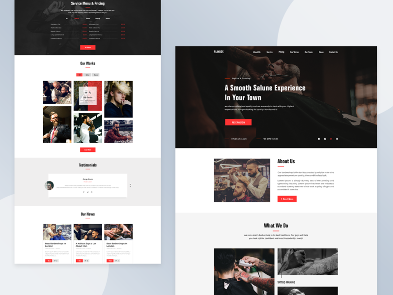 PLAYBOY | Barbershop Full Landing Page Design ui website web ui user interface web design hair salon barber barbershop simple photoship minimal inteface graphic design graphic flat design clean branding landing page ux