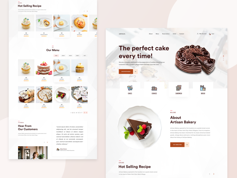 Bakery Landing Page Design Concept uidesign cake cake shop restaurant cakery cakes bakery food user interface clean design website web design simple flat web ui landing page minimal ux ui