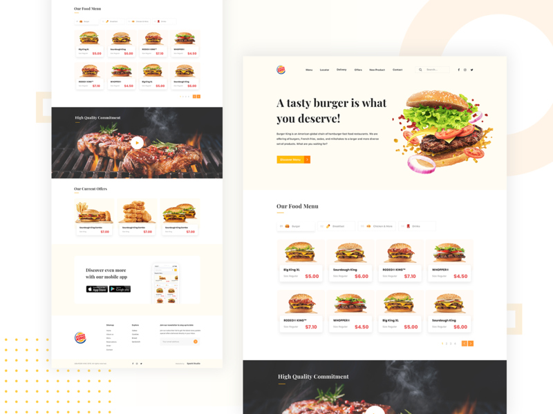 Burger King Website Redesign Concept burger menu burgers burger king clean user experience design header exploration design white header uidesign user interface website web design simple flat web ui landing page minimal ux ui