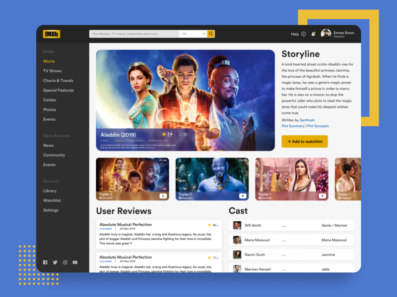 IMDb Header Redesign Concept Exploration movies imdb ui design uxdesign dashboad ux uidesign header header exploration clean website user interface design web design simple landing page flat web ui minimal ui