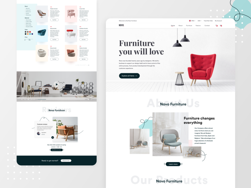 Novo. Furniture Website UI Design website design webdesign furniture store furniture website furniture design furniture website design web design simple landing page flat web ui ux minimal ui