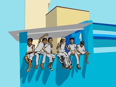 Kids sitting on the wall karnataka bangalore sunnyday wall kids