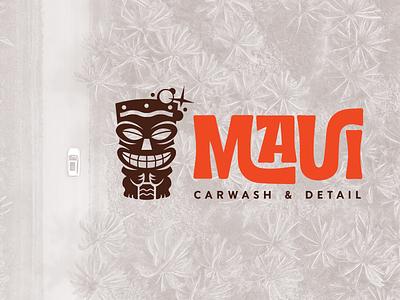 Maui Carwash & Detail Logo carwash tiki branding design vector illustrator illustration
