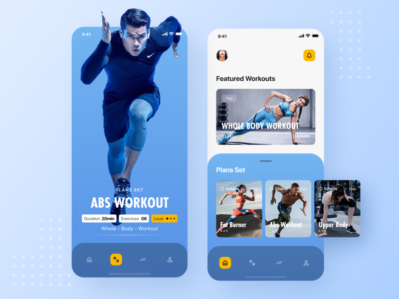 🏋🏻 Fitness App Exploration — Plan Set development phone mobile weight music fit application person app sport training workout gym interface analytics chart exercise plan set plan set analytics