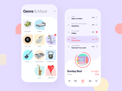 Music Player - Mood 👋 moods genre category mobile sound play online multimedia media listening button audio application technology illustration communication app player interface music