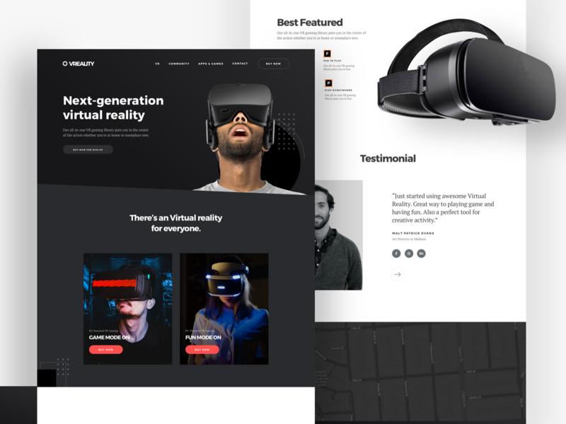 🔥Website Virtual Reality Exploration virtual card virtual tour virtual reality vector augmentend black colour dark theme header home website ux noansa web landingpage design ui virtualreality
