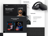 🔥Website Virtual Reality Exploration virtual card virtual tour virtual reality vector augmentend black colour dark theme header home website ux noansa web landingpage design ui virtualreality