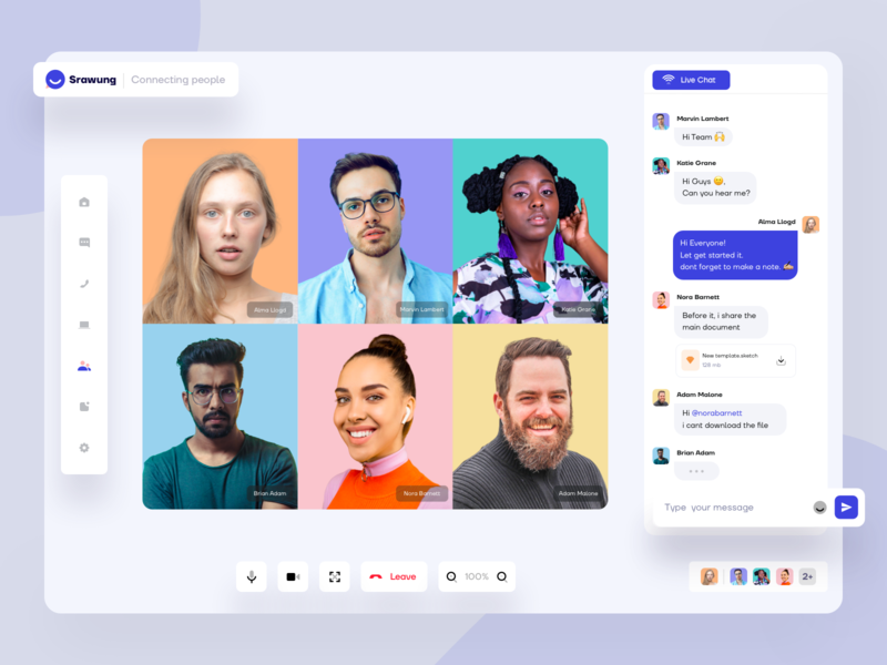 """⭐️ """"Srawung"""" Video call app to connecting people facetime zoom broadcast hangout communication video call app clean ui connecting group calling chat apps people room conference conversion call"""