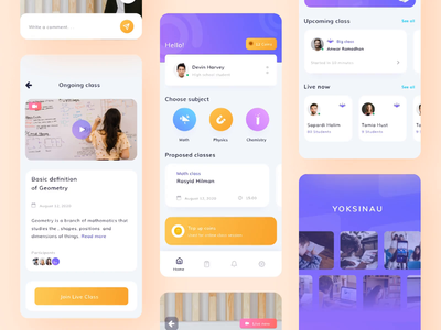 Yoksinau - Online Class Platform KIT clean illustration physic mathematic student trend online learning edtech dashboard question answer uiux teacher streaming online class videocall ecourses elearning
