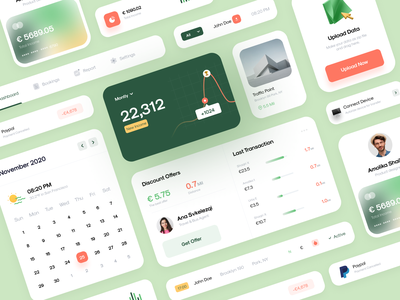 🥳 Dashboard Card - UI Components connect chart income paypal green gradient upload traffic point credit card profile graph discount vektora calendar last transaction components dashboard card ui clean