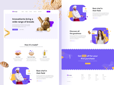 breadgo - bread landing page 🍞 project nice vektora purchase food app people webdesign purple taste food order chef home bread design website landingpage ui clean web