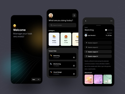 🥷🏼 to do list dark - app exploration clean dark theme ui app design welcome page project management today list task management app dark theme dark mode dark app dark ui application ui ux task management tasks task manager task list to do list to do app